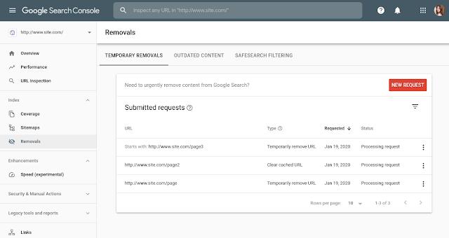 retirada temporal urls search console