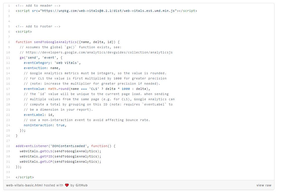 core web vitals script google analytics