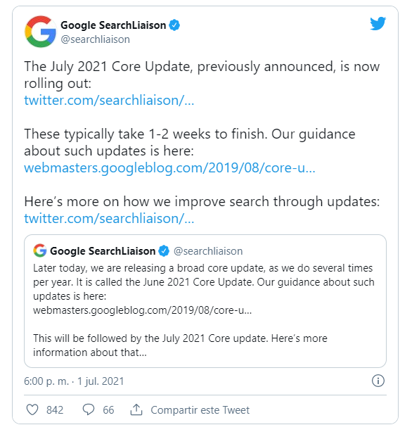 July 2021 Core Update twitter google